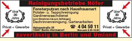 Bild 1 Höfer Reinigungsbetriebe Inh. Mike Steinig in Berlin