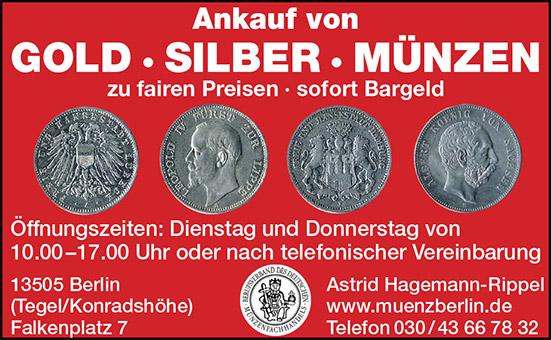 Münzhandlung Hagemann Rippel 13505 Berlin Konradshöhe