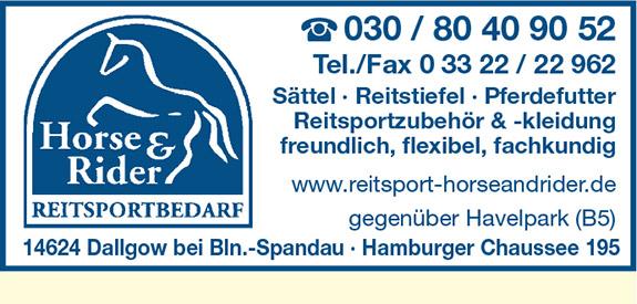 Horse & Rider Reitsportbedarf