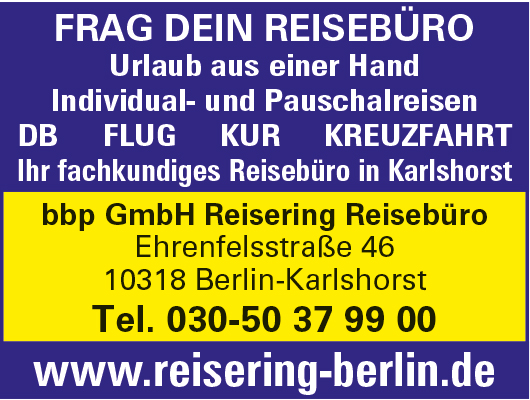bbp GmbH Reisering Reisebüro