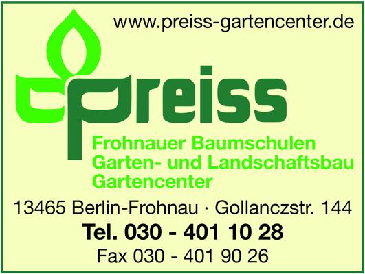 Preiss Gartencenter GmbH Frohnauer Baumschulen Garten- und Landschaftsbau