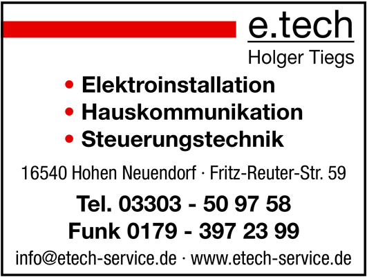 e.tech Service Holger Tiegs Elektroinstallation