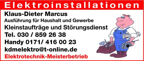 Marcus, Klaus-Dieter Elektrotechnik-Meisterbetrieb mit Störungsdienst