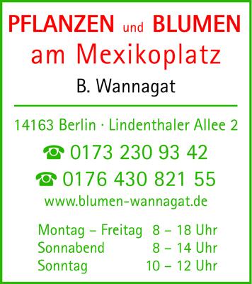 Logo von Pflanzen und Blumen am Mexikoplatz, B. Wannagat