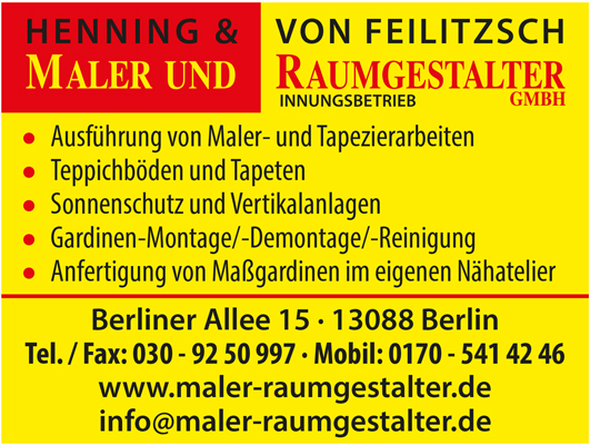 Raumgestalter Berlin henning feilitzsch maler und raumgestalter gmbh 13088